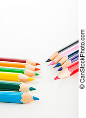 Vivid composition of color pencils - Colorful wooden pencils