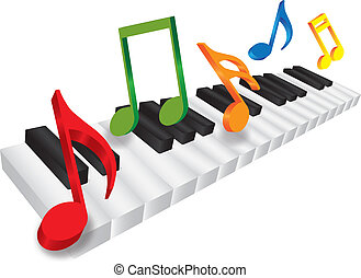 Piano Keyboard and 3D Music Notes Illustration - Piano...