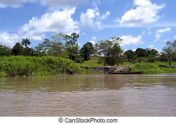 Amazon river margim landscape & indian comunity boat pear...