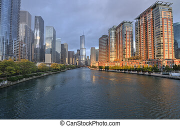 Chicago River - Downtown Chicago over Chicago River on...