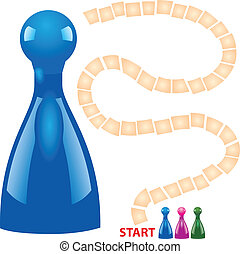 Children board game with chips. Vector illustration.