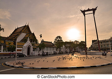 Giant Swing and Suthat Temple at Twilight Time, Bangkok,...