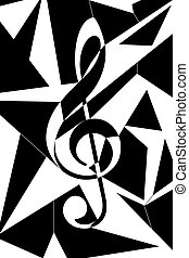 Abstract musical key illustration - Cubism like sol key...