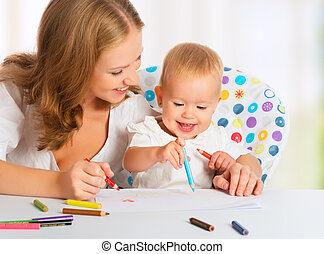 Mother and baby draw color pencil crayons