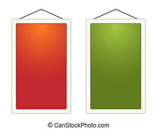 Two blank vertical boards - The pair of blank orange and...