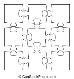 isolated puzzle pieces - Set of nine blank isolated puzzle...