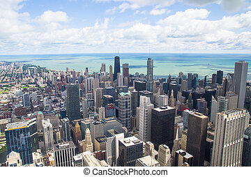 lake michigan panorama from chicago tower - aerial view of...