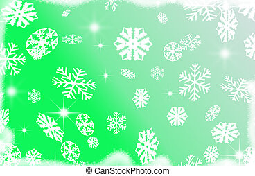 snow flakes holiday illustration - snow flakes green...