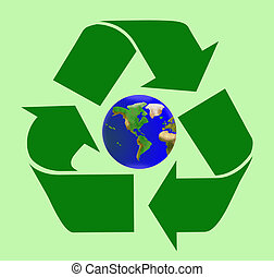 Heal the world by recycling - Recycle sign with planet Earth...