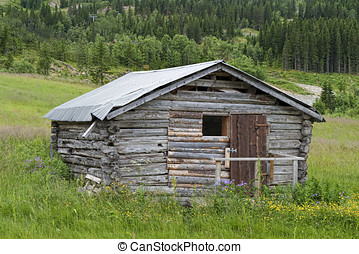 Old Shack in the Mountain - Old shack in the mountains at...