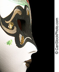 Profile of mask of a woman - Profile of carnival mask of a...