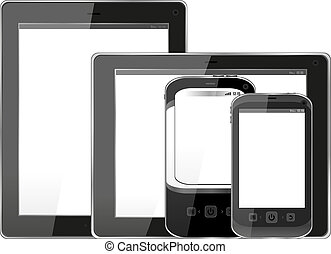 Blank mobile smart phone and digital tablet pc set