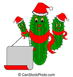 Funny Christmas cactus with a big blank paper