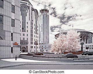 Moscow. Infrared photo - Municipal landscape, modern houses,...