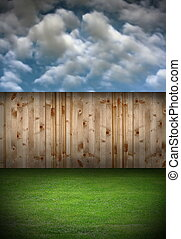 back garden with wooden fence