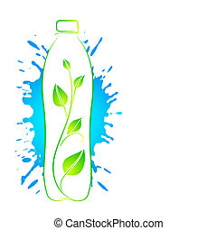 Bottle of water with a branch