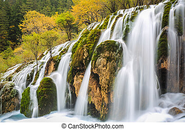 beautiful waterfall in colorful autumn - beautiful waterfall...