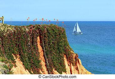 Algarve coastel scenario - Algarve seashore cliff scenery,...