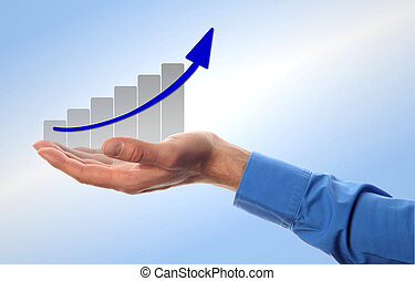 man holds the chart - business man hold a chart with...