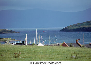 Dingle bay in Ireland and storm coming - Overview of Dingle...