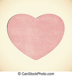 Vintage heart recycled paper on white background