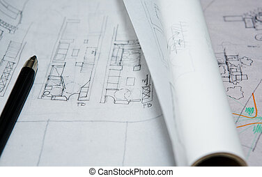 Draft plans - Pencil over interior planning document close...