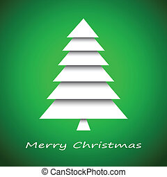 Simple paper christmas tree on green background