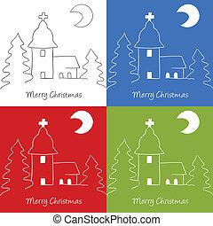 Christmas church doodle