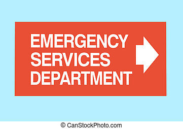 Emergency Services Sign - pointing to the observer\'s right....