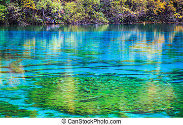 blue lake surface in autumn