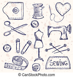 Sewing accessories - Illustration of vintage sewing...