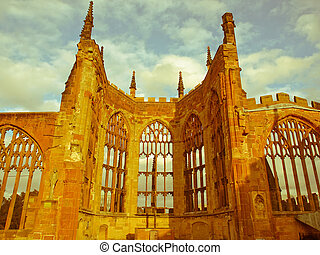 Retro looking Coventry Cathedral ruins - Vintage look Ruins...