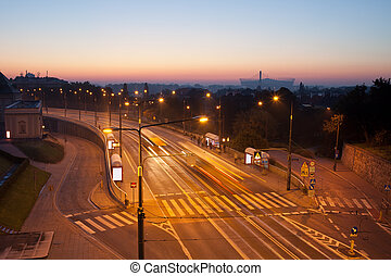 Aleja Solidarnosci Street in Warsaw - Early morning on Aleja...