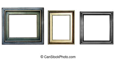 Wooden frame - Three wooden frames with copyspace isolated...
