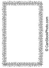 Tinsel frame isolated on white background