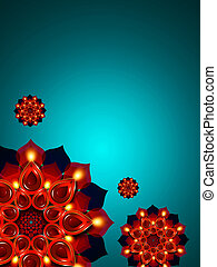 oil lamps with diwali diya elements over turquoise...