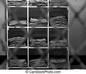 Alcatraz Prison - wardrobe at the Alcatraz Prison The Rock,...