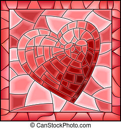 Heart stained glass window - Vector illustration of heart...
