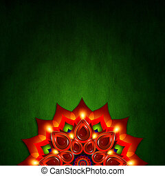 oil lamp with diwali diya elements over green background -...
