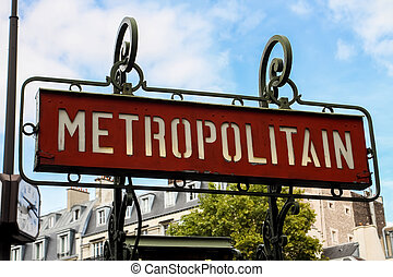 Paris metro sign - Paris metro (metropolitain) sign