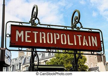 Paris metro sign - Paris metro (metropolitain) sign