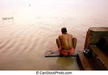 mañana, ritual, Ganges, río