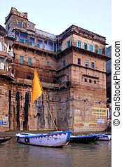 Ghats traditional architecture in ancient city of Varanasi
