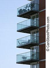 Empty balconies - Building with empty balconies, vertical