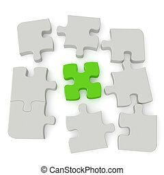 Jigsaw Puzzle - Grey puzzle with a single green main piece...