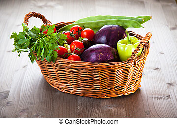 籃子, 新鮮, 蔬菜, 有机