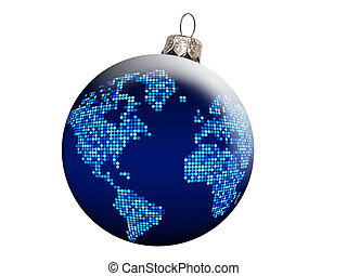 Globe Christmas balls, clipping path