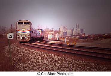 Passenger Train - Passenger train out of Detroit station
