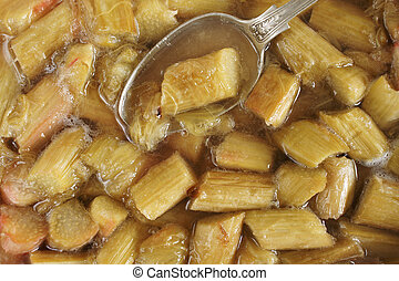 Stewed Rhubarb or Rhubarb baked with sugar and it's own...