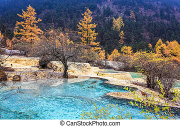 travertine ponds in autumn forest ,huanglong scenic and...